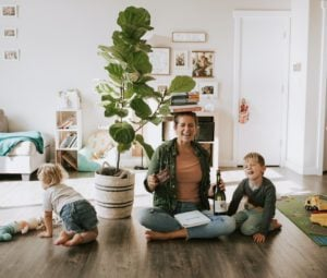 Our Fiddle Leaf Fig with her new family